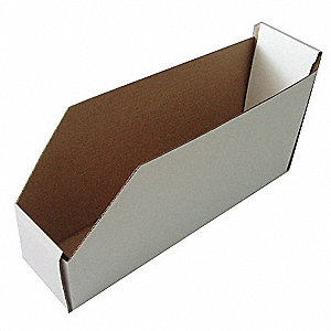 "Corrugated Shelf Bin, 100 lb. Test Rating, White, 8-1/2""H x 11""L x 4-1/4""W, 1EA"