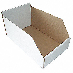 "Corrugated Shelf Bin, 100 lb. Test Rating, White, 8-1/2""H x 17""L x 6-1/4""W, 1EA"