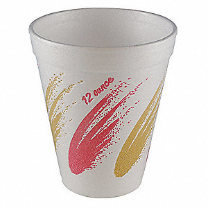 12 oz. Disposable Cold/Hot Cup, Foam, White, PK 1000