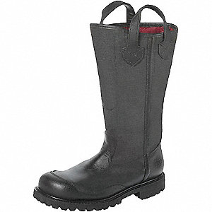 Men's Insulated Firefighter Boots, Size 12-1/2, Footwear Width: W, Footwear Closure Type: Pull On