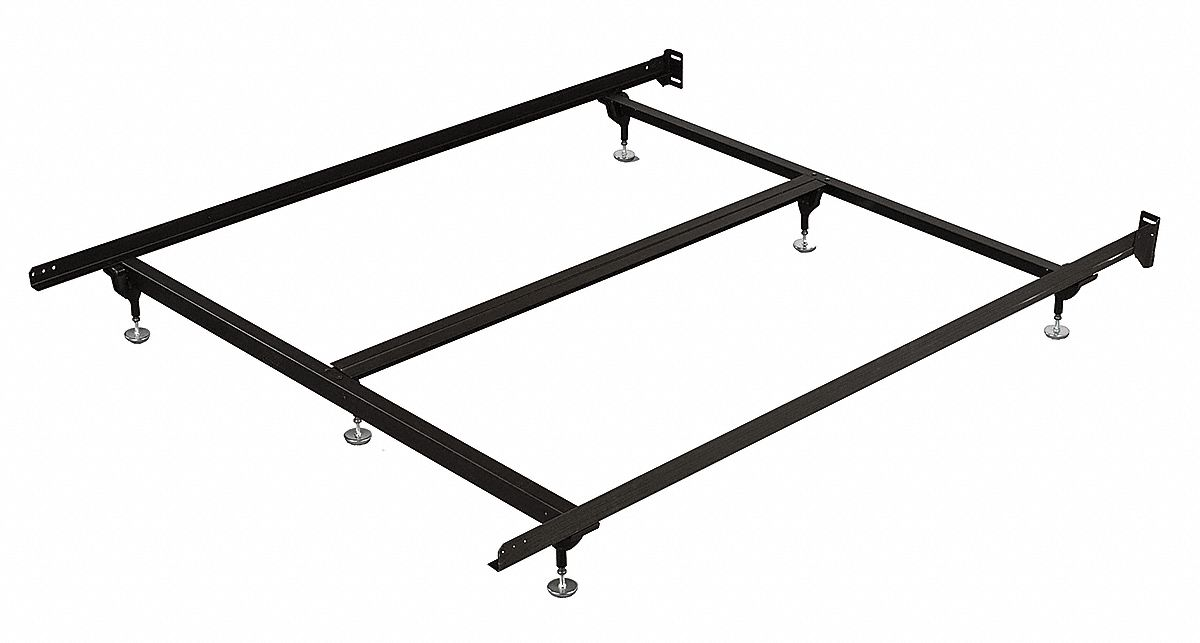 71 in x 38 in x 7 1/2 in Twin Bed Frame with 500 lb Weight Capacity, Brown; Includes Steel Stem Glid