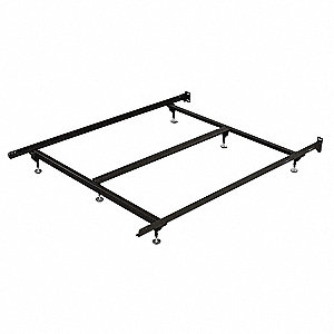 "71"" x 38"" x 7"" to 9"" Twin Bed Frame with 500 lb. Weight Capacity, Brown&#x3b; Includes Adjustable Glides"