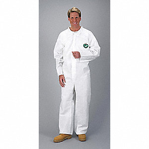 Collared Chemical Resistant Coveralls with Open Cuff, White, M, MicroMax® 3P