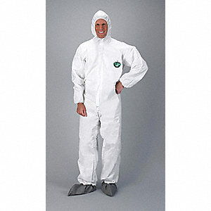 Hooded Chemical Resistant Coveralls with Elastic Cuff, White, L, MicroMax® 3P
