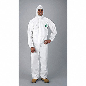 Hooded Chemical Resistant Coveralls with Elastic Material, White, 3XL