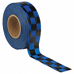 "Flagging Tape, Blue/Black, 1-3/16"" x 300 ft., Checkered"