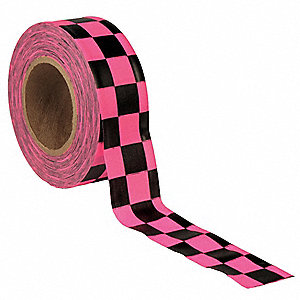 "Flagging Tape, Pink Glo/Black, 1-3/16"" x 150 ft., Checkered"