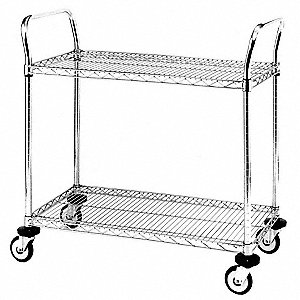 "37-1/4"" x 19-5/8"" x 38"" Stainless Steel Utility Cart with 375 lb. Load Capacity, Silver"