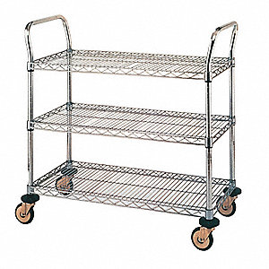 "37-1/4"" x 19-5/8"" x 7"" Stainless Steel Utility Cart with 375 lb. Load Capacity, Silver"