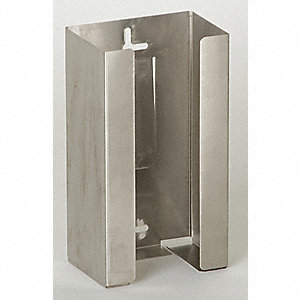 "Horizontal Glove Dispenser, Silver, 20 ga. Stainless Steel, Holds: (1) Box, 5-1/2"" Width"