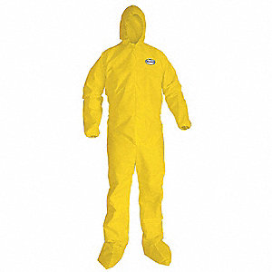 Hooded Disposable Coveralls with Elastic Cuff, Yellow, L, Polyethylene Film and Spunbond Polypropyle