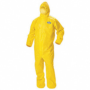 Hooded Disposable Coveralls with Elastic Cuff, Yellow, 4XL, Polyethylene Film and Spunbond Polypropy