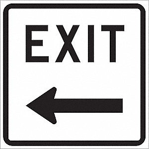 "Text and Symbol Exit, Engineer Grade Aluminum Exit Sign, Height 18"", Width 18"""
