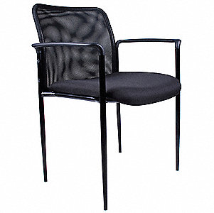 Guest Chair,Mesh Back,Black,33 in.