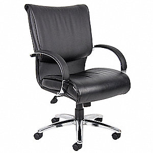 "Black Leather Executive Chair, 39"" to 42-1/2"" Overall Height"