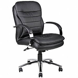 "Black Leather Executive Chair 24"" Back Height, Arm Style: Fixed"