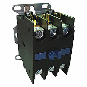 24VAC Definite Purpose Contactor; No. of Poles 3, Reversing: No, 20 Full Load Amps-Inductive