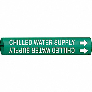 Pipe Marker,Chilled Water Supply,Green