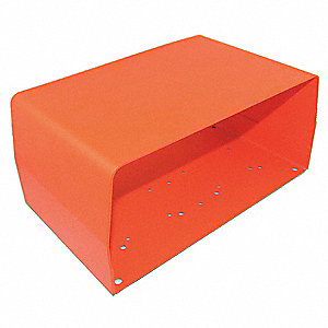 "Orange Steel Foot Switch Guard, 11"" Length, 5"" Width, 6.1/2"" Depth"