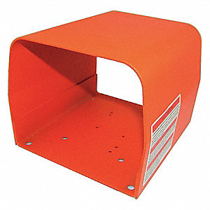 "Orange Steel Foot Switch Guard, 6-1/2"" Length, 6"" Width, 5"" Depth"