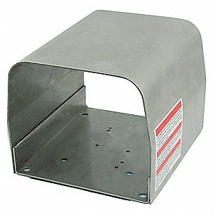 "Gray Stainless Steel Foot Switch Guard, 6-1/2"" Length, 5"" Width, 6"" Depth"