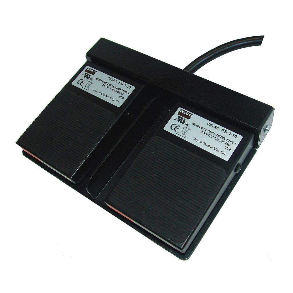 Interruptor de Pie de Uso Ligero de Dos Pedales,Forma de Contacto (2)  SPDT-NA,Clasificación de Voltaje 125/250VCA,Clasificación NEMA 1