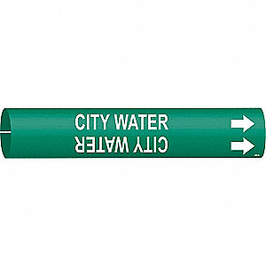 Pipe Marker, City Water, Green, 4 to 6 In