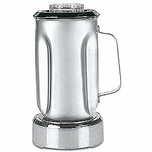 "5 1/2"" x 5 1/2"" x 9 1/2"" Stainless Steel, Vinyl Blender Container with Lid and Blade"