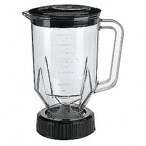 "6 1/4"" x 9 1/2"" x 6 1/4"" Polycarbonate Blender Container with Lid and Blade"