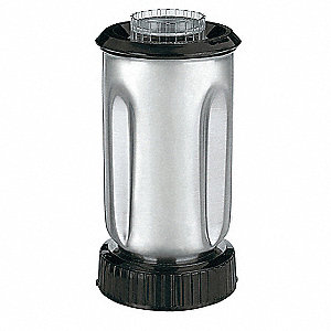 "6 1/4"" x 9 3/8"" x 6 1/2"" Stainless Steel Blender Container with Lid and Blade"