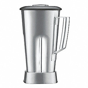"7 1/4"" x 7"" x 11 3/4"" Stainless Steel Blender Container with Lid and Blade"