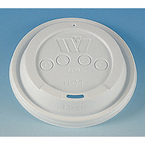 Polystyrene Drink Thru,Dome Hot Cup Lid, White&#x3b; PK1000