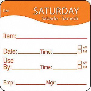 Day Label,Saturday,4-1/2 In. W,PK250