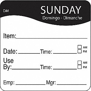 "Dissolvable Day Label, Paper, Square, Width 2"", Height 2"", 250 PK"