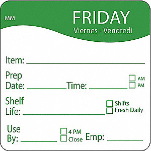 "Removable Day Label, Paper, Square, Width 2"", Height 2"", 500 PK"
