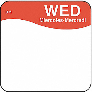 Day Label,Wednesday,1 x 1 In.,PK500