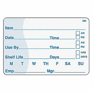 SHELF LIFE LABEL,2 IN. H,3 IN. W,PK