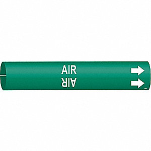Pipe Marker, Air, Green, 4 to 6 In