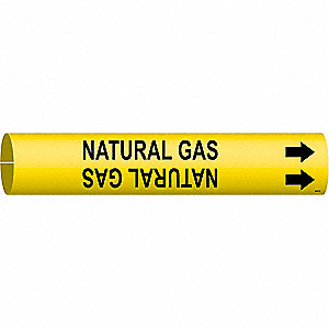 Pipe Marker,Natural Gas,Yellow,4 to 6 In
