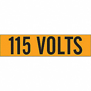 "Conduit and Voltage Markers, Markers per Card: 1, 9"" x 2-1/4"", 115 Volts Legend"