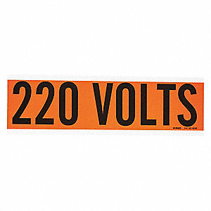 "Conduit and Voltage Markers, Markers per Card: 1, 9"" x 2-1/4"", 220 Volts Legend"