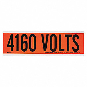 "Conduit and Voltage Markers, Markers per Card: 1, 9"" x 2-1/4"", 4160 Volts Legend"