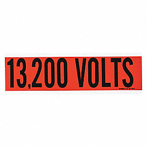 "Conduit and Voltage Markers, Markers per Card: 1, 9"" x 2-1/4"", 13,200 Volts Legend"