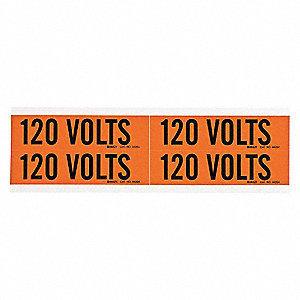 "Conduit and Voltage Markers, Markers per Card: 4, 4-1/2"" x 1-1/8"", 120 Volts Legend"