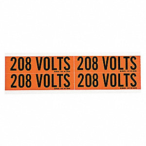 "Conduit and Voltage Markers, Markers per Card: 4, 4-1/2"" x 1-1/8"", 208 Volts Legend"