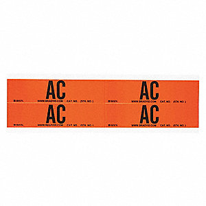 "Conduit and Voltage Markers, Markers per Card: 4, 4-1/2"" x 1-1/8"", AC Legend"