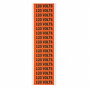 "Conduit and Voltage Markers, Markers per Card: 18, 2-1/4"" x 1/2"", 120 Volts Legend"