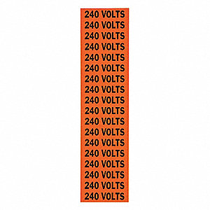 "Conduit and Voltage Markers, Markers per Card: 18, 2-1/4"" x 1/2"", 240 Volts Legend"