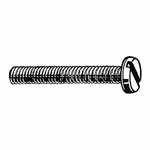 M3-0.50mm Machine Screw, Property Class 4.8 Steel, 6mm L, 100 PK