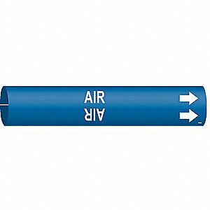 Pipe Marker, Air, Blue, 1-1/2 to 2-3/8 In